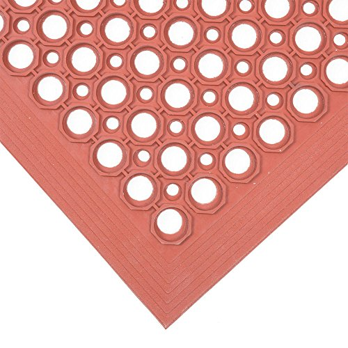 (MD Group Floor Mat 3' x 5' Rubber Red Competitor Anti-Fatigue Lightweight Heavy-duty)