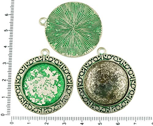 (2pcs Czech Green Turquoise Patina Antique Silver Tone Large Round Pendant Cabochon Settings Oriental Blank Tray Metal Base Fit Cameo 25mm)