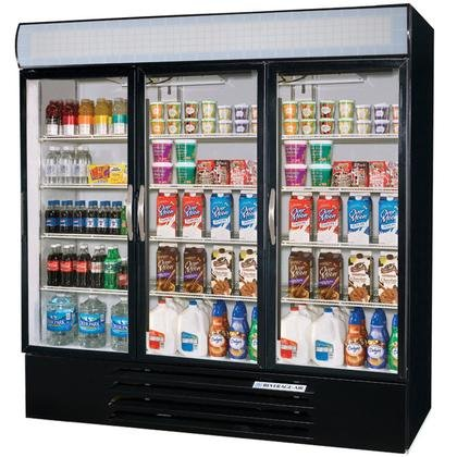 Beverage-Air MMF72-5-B-LED MarketMax 75'' Three Section Glass Door Reach-In Merchandiser Freezer with LED Lighting 72 cu.ft. Capacity Black Exterior and Bottom Mounted