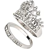Fashion Women Queen Crown Ring Set Crystal Rhinestones Two-piece Rings Jewelry ERAWAN