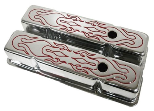 Covers Valve Tall Design (1958-86 Chevy Small Block 283-305-327-350-400 Tall Steel Valve Covers - Red Flamed)