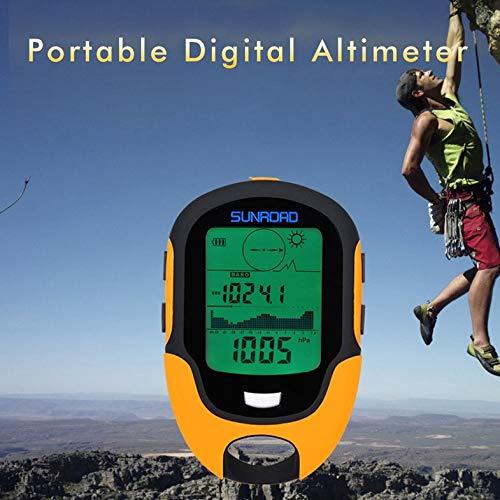 CamKpell Altimetro Digitale Portatile Multifunzione FR500 Altimetro Impermeabile Display LCD Schermo per Uso Esterno Barometro Dispositivo Arancione e Nero