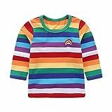 Motecity Little Boys' T-Shirt Rainbow Striped Size 24M Style-2
