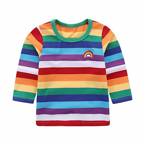 Motecity Little Boys' T-Shirt Rainbow Striped Size 12M Style-2 -