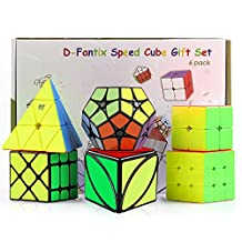 D-FantiX Cube Bundle Set of 6: Cyclone Boys 2x2 Speed Cube; 3x3 Speed Cube; Pyraminx; Square-1; 2x2 Megaminx; Fisher Cube; Puzzles Games Toys Brain Teasers Christmas Gift for Kids