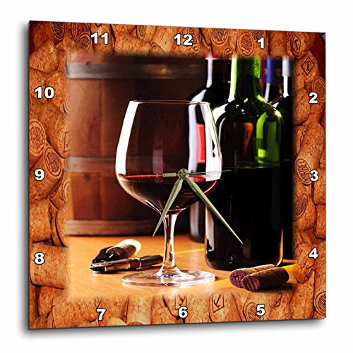 3dRose DPP_62548_2 Share Some Wine with Me Wall Clock, 13 by 13-Inch ()