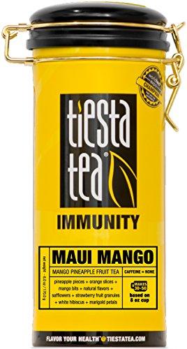 Tiesta Tea Immunity, Maui Mango, Mango Pineapple Fruit Tea, Loose Leaf Tea Blend, Caffeine Free, 6 Ounce Tin