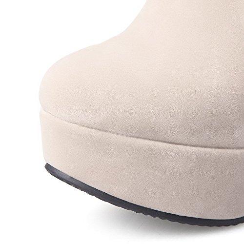 AllhqFashion Damen Rein Nubukleder Hoher Absatz Reißverschluss Rund Zehe Stiefel Cremefarben