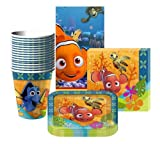 Disney Nemo's Coral Reef Party Supplies Pack Including Plates, Cups, Tablecover and Napkins- 16 Guests