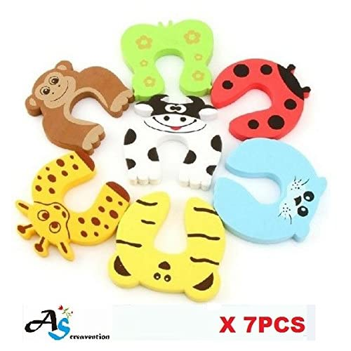 A&S Creavention Animal Foam Door Stopper Cushion Children Safety Finger Pinch 7PCS Set (Mix on each)