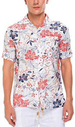 - Janmid Men's Tropical Hawaiian Shirt Casual Button Down Short Sleeve Shirt White Redfloral XL