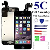 proximity sensor iphone 4 - Nroech Screen Replacement for iPhone 5C, Full Assembly with Front Camera, Ear Speaker, Facing Proximity Sensor, Home Button Pre-assembled, Repair Tools and Tempered Glass Screen Protector Included.