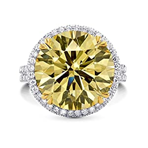 11.04Cts Yellow Diamond Engagement Ring Set in Platinum Size 6