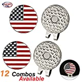 kaveno Magnetic Golf Hat Clips with Golf Ball Markers, Pack of 2