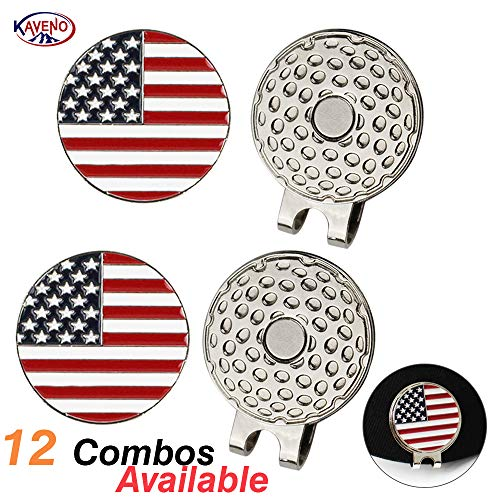 kaveno Magnetic Golf Hat Clips with Golf Ball Markers, Pack of 2 (US Flag)