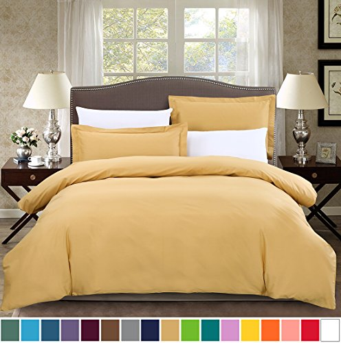 SUSYBAO 3 Pieces Duvet Cover Set 100% Cotton King Size 1 Duvet Cover 2 Pillow Shams Solid Gold Luxury Quality Soft Breathable Durable Hypoallergenic Fade Stain Wrinkle Resistant with Zipper (Gold King Duvet Cover)