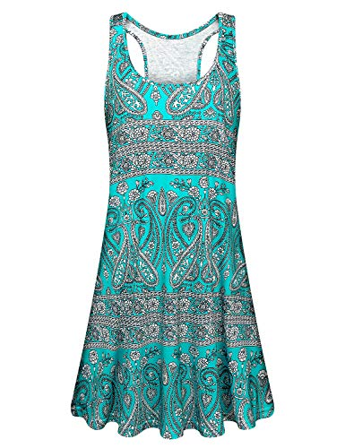 Floral Dress Trapeze - Viracy Tank Dress for Women, Ladies Sun Dresses Cute Casual Summer Beach Long Tshirt Sleeveless A Line Flowy Swing Knee Length Loose Fitting Dress with Pockets Racerback Petite Tunic Green Print M