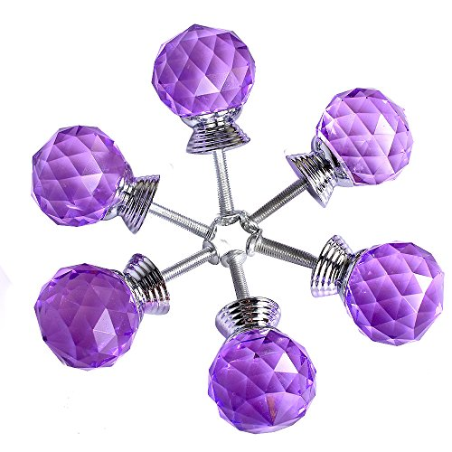 ASIMOON Set of 6 1.2in Ball Clear Crystal Dresser Drawer Knob with Metal Base and Screw for kitchen cabinets (Purple) (Purple Crystal Cabinet Knobs compare prices)