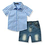 Toddler Boy's Clothes Short Sleeved Plaid Woven Shirt With Denim Shorts Sets (5 years, Blue)