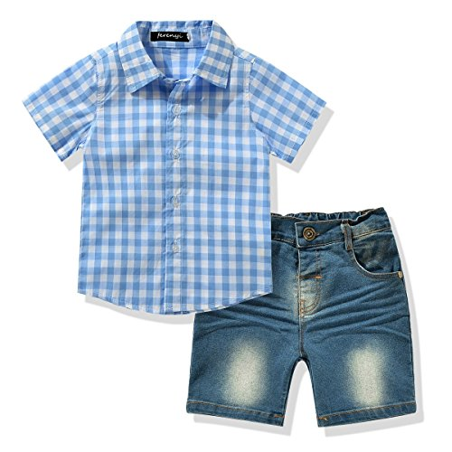 FERENYI Toddler Boy's Clothes Short Sleeved Plaid Woven Shirt With Denim Shorts Sets (4 years, Blue)