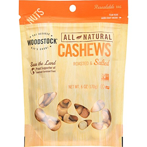 (Woodstock Nuts - All Natural - Cashews - Whole - Extra Large - Roasted - Salted - 6 oz - case of 8)