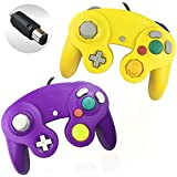 Reiso 2 Packs NGC Controllers Classic Wired Controller for Wii Gamecube(Yellow and Purple)