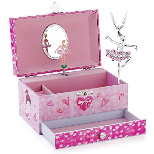 Musical Jewelry Box - Musical Storage Box with Jewelry Set with Pretty Girl Theme - Beautiful Dreamer Tune Pink