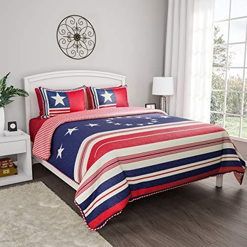 Lavish Home Collection 2-Piece Quilt Set – Hypoallergenic Microfiber Glory Bound Patriotic Americana Flag Print All-Season Blanket with Shams ()