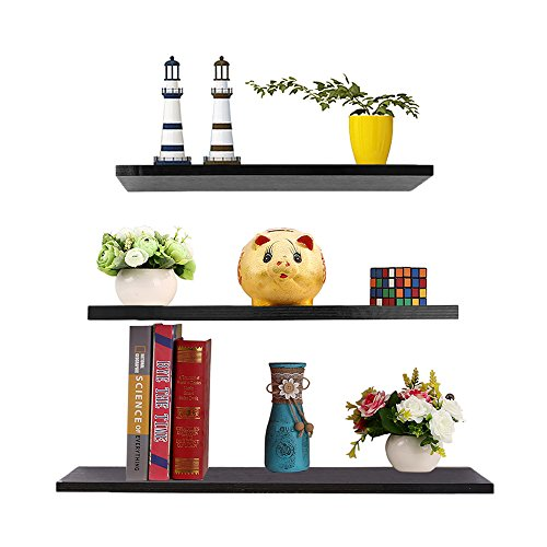 "3 Sets Floating Shelves, 11.81""/15.75""/19.69"" Display Ledge Wall Wood Storage Shelves for Frames Modern Home Decorative, Black Review"