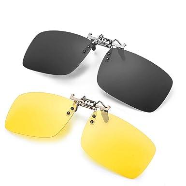 ELIVWR 2 Pares Gafa de Sol Polarizada con Clip de UV400 - Gafas Nocturnas Conducción/