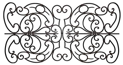 - shemonico Decorative Ornamental Panel Fence 60in x 32in Wrought Iron Coated Metal Outdoor Landscape Wrought Iron Wire Fencing Gate Border Garden Patio Flower Bed Animal Barrier Section Edging