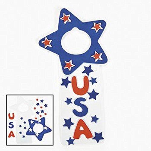 12 ~ USA Patriotic Doorknob Hanger Craft Kits ~ Approx. 5 1/4