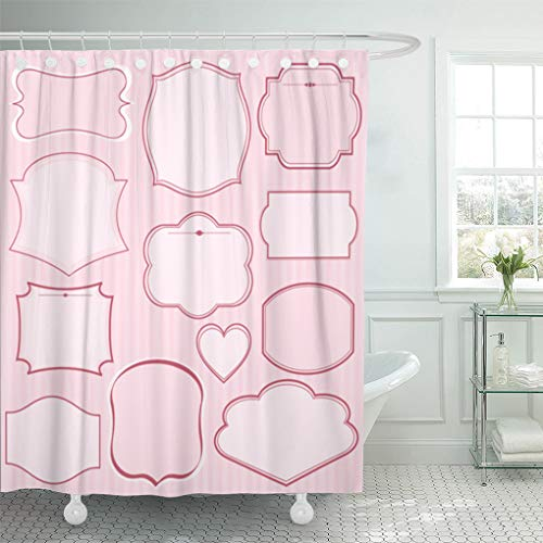 (Emvency Shower Curtain Black Border of Pink Frames and Ornaments with Text Perfect As Announcement Elegant Shower Curtains Sets with Hooks 72 x 78 Inches Waterproof Polyester Fabric)