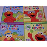 Sesame Street Educational Sing Along with Elmo 4 Book Set ~ Nursery Rhymes, Get Ready for School, Elmo's Favorite Songs, & Elmo and Friends At the Farm (With 80 Songs; 2014)