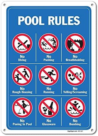 None Brand NIUMEA Pool Seggni - Pool Rules Sign con Graphica Aluminium Metallschild Grande