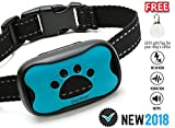 Dog Bark Collar-New Version 2018-Sound & Vibration Humane Training Collar for Small, Medium and Large Dogs- NO SHOK Safe Pet Waterproof Device-Free!!-Led Light Tag!