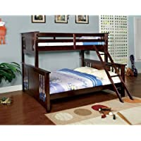 NEW Youth Twin over Queen Wood Bunk Bed with ladder in Dark Walnut Finish Bed Room