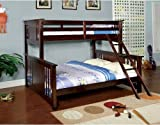 NEW Youth Twin over Queen Wood Bunk Bed with ladder in Dark Walnut Finish Bed Room Review