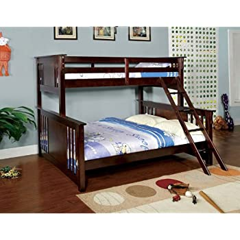 Amazon Com New Youth Twin Over Queen Wood Bunk Bed With Ladder In