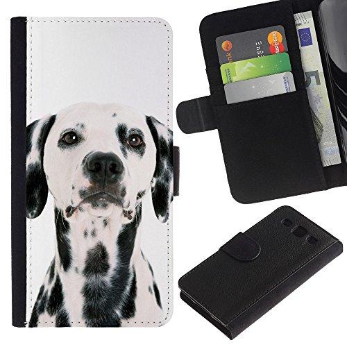 Be Good Phone Accessory // Caso del tirón Billetera de Cuero Titular de la tarjeta Carcasa Funda de Protección para Samsung Galaxy S3 III I9300 // Dalmatian Dog White Black Spots Bree