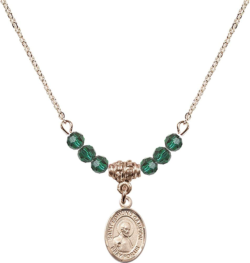 18-Inch Hamilton Gold Plated Necklace with 4mm Emerald Birthstone Beads and Gold Filled Saint Edmund Campion Charm.