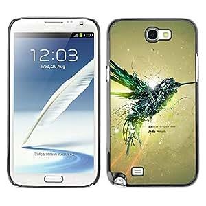 // PHONE CASE GIFT // Duro Estuche protector PC Cáscara Plástico Carcasa Funda Hard Protective Case for Samsung Note 2 N7100 / Aves Colibrí Mecánico /