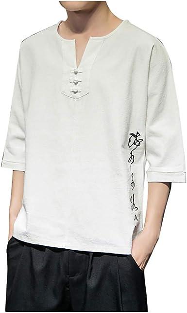Camisetas Hombre Manga Corta La Camisa Basicas Algodon Blusa 2019 Verano Nuevo Tops Deportivas Gym Running Polo T-Shirt ZOELOVE Retro Manga Corta Lino de algodón para Hombre y Lino Suelto: Amazon.es: Ropa