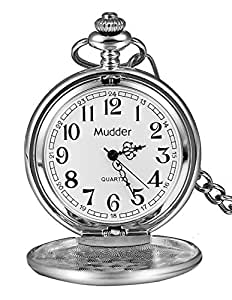 Mudder Classic Smooth Vintage Steel Mens Pocket Watch Xmas Gift (Silver)