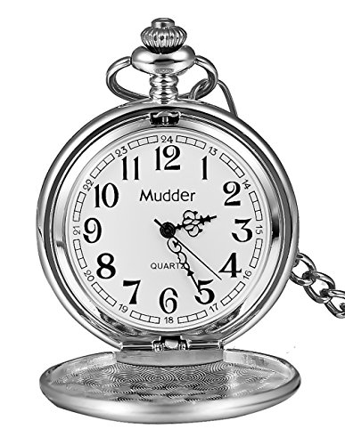 Mudder+Classic+Smooth+Vintage+Silver+Steel+Mens+Pocket+Watch+Xmas+Gift