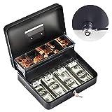 Cash Box with Money Tray Steel Cash Box with Lock 11.8''L x 9.5''W Black