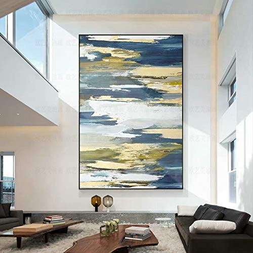 l Paintings,Landscape Style, Abstract Blue White Gold Clouds, Painting On Canvas Art, Large Size Home Decor Wall Art, For Bedroom Living Room Bedside Restaurant Painting Without Fr ()