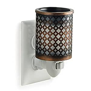 Candle Warmers Etc. Pluggable Wax Warmer, Fragrance Releasing Decorative Plug-In Nightlight Warmer, Moroccan Metal
