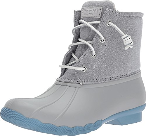 Sperry Top-Sider Women's Saltwater Pop Outsole Rain Boot, Grey/Blue, 8.5 Medium US by Sperry Top-Sider