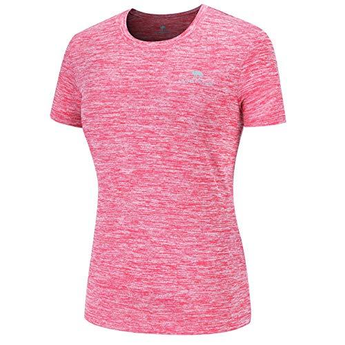 (CAMEL CROWN Women's Plain T-Shirts Short-Sleeve Moisture Wicking Athletic Tshirt Training Gym Tee Plain Workout Shirts Red)